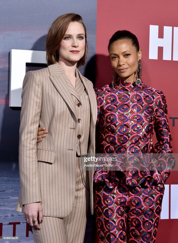 Actors Evan Rachel Wood and Thandie Newton arrive at the Los Angeles premiere of HBO's 'Westworld' season 2 at The Cinerama Dome on April 16, 2018 in Los Angeles, California.