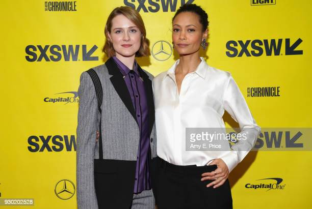 Actors Evan Rachel Wood and Thandie Newton attend the Featured Session during SXSW at Austin Convention Center on March 10 2018 in Austin Texas