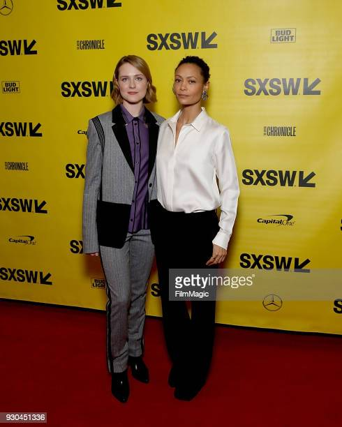 Actors Evan Rachel Wood and Thandie Newton attend the Westworld Featured Session during SXSW at Austin Convention Center on March 10 2018 in Austin...