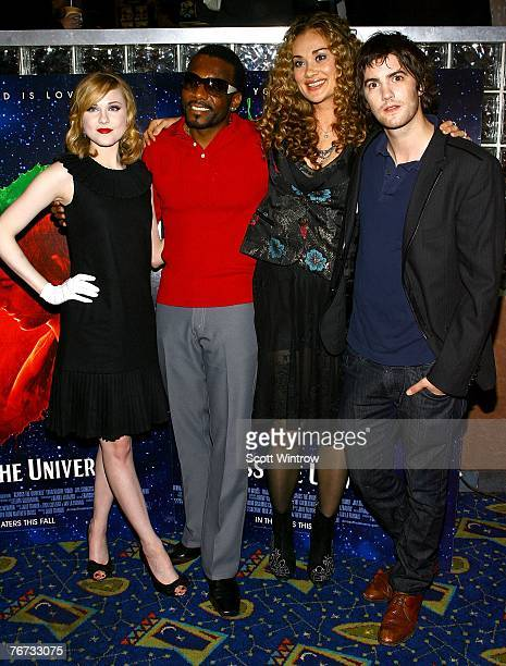 Actors Evan Rachel Wood Martin Luther Dana Fuchs and Jim Sturgess attend a special screening of 'Across The Universe' at Chelsea West Theater on...
