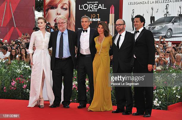 Actors Evan Rachel Wood Philip Seymour Hoffman director George Clooney and actors Marisa Tomei Paul Giamatti and writer Grant Heslov attend The Ides...