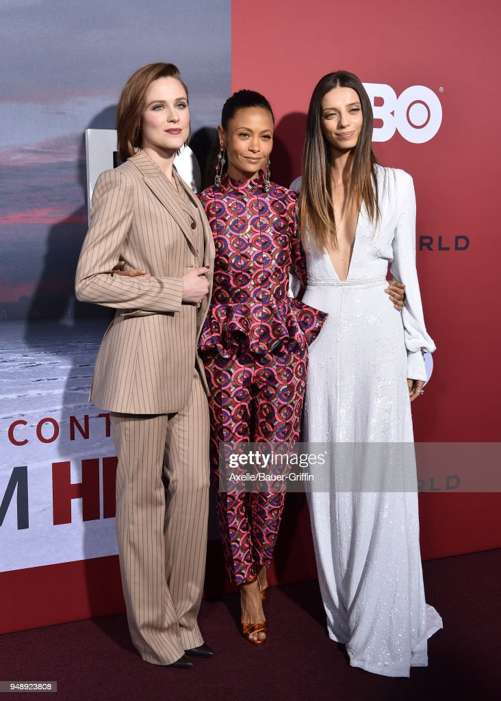 Actors Evan Rachel Wood, Thandie Newton and Angela Sarafyan arrive at the Los Angeles premiere of HBO's 'Westworld' season 2 at The Cinerama Dome on April 16, 2018 in Los Angeles, California.