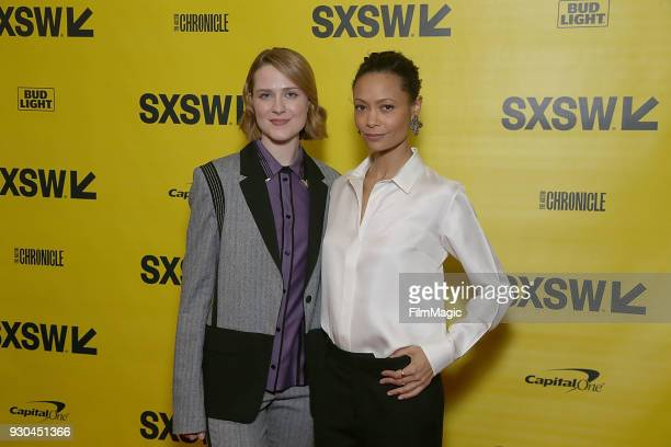 Actors Evan Rachel Wood Thandie Newton attend the Westworld Featured Session during SXSW at Austin Convention Center on March 10 2018 in Austin Texas