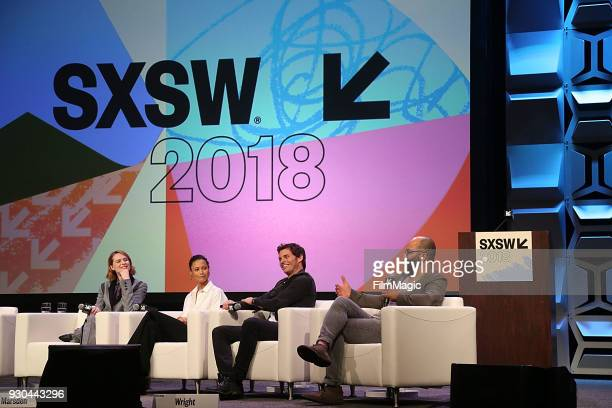 Actors Evan Rachel Wood Thandie Newton James Marsden and Jeffrey Wright speak onstage at the Westworld Featured Session during SXSW at Austin...