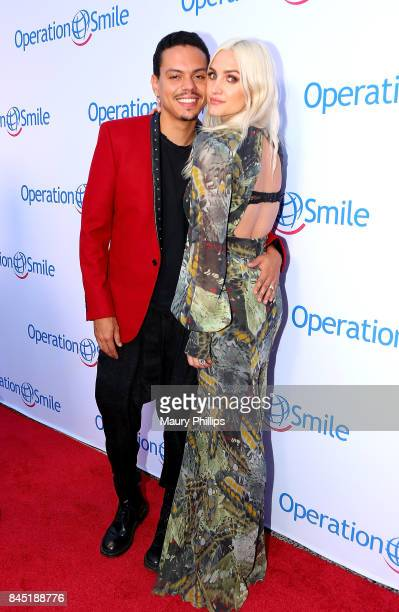 Actors Evan Ross and Asheee Simpson-Ross arrive at Operation Smile's Annual Smile Gala at The Broad Stage on September 9, 2017 in Santa Monica,...