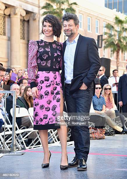 Actors Evangeline Lilly and Andy Serkis attend a ceremony honoring Sir Peter Jackson with the 2538th Star on The Hollywood Walk of Fame on December 8...