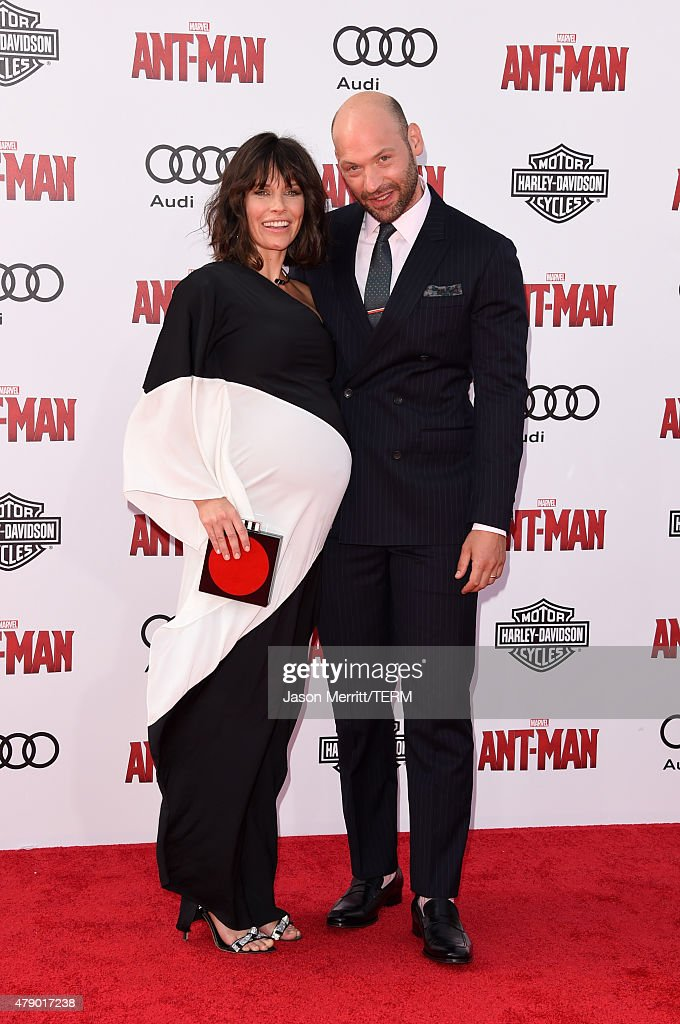 Actors Evangeline Lilly (L) and Corey Stoll attend the premiere of Marvel's 'Ant-Man' at the Dolby Theatre on June 29, 2015 in Hollywood, California.