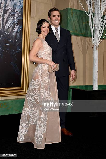 Actors Evangeline Lilly and Lee Pace attend the premiere of New Line Cinema MGM Pictures and Warner Bros Pictures' The Hobbit The Battle of the Five...