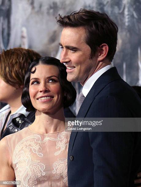 Actors Evangeline Lilly and Lee Pace attend the premiere of New Line Cinema MGM Pictures and Warner Bros Pictures' 'The Hobbit The Battle of the Five...