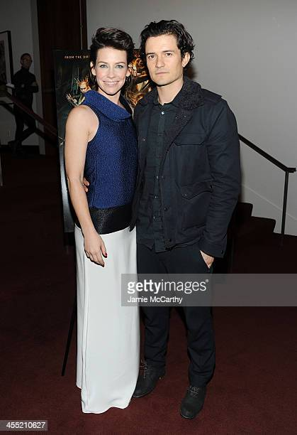 Actors Evangeline Lilly and Orlando Bloom attend New Line Cinema and MGM Pictures' screening of 'The Hobbit The Desolation of Smaug' hosted by the...