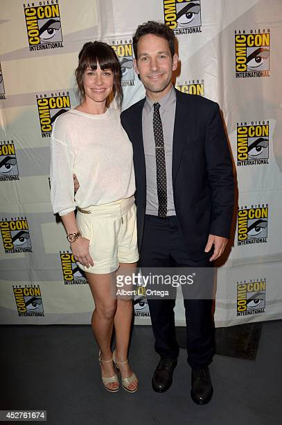 Actors Evangeline Lilly and Paul Rudd attend the Marvel Studios panel during ComicCon International 2014 at San Diego Convention Center on July 26...