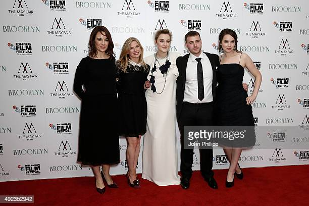 Actors Eve Macklin Eva Birthistle Saoirse Ronan Emory Cohen and Eileen O'Higgins attend the Brooklyn screening during the BFI London Film Festival on...