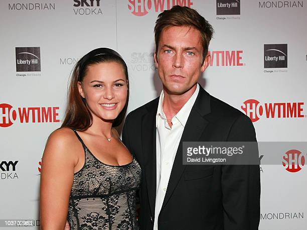 Actors Eve Mauro and Desmond Harrington attend Showtime's 2010 Emmy nominee reception at Skybar at the Mondrian on August 28 2010 in West Hollywood...