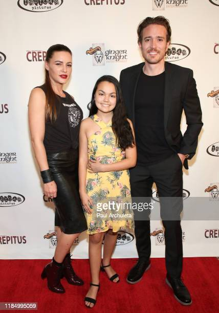 Actors Eve Mauro Chalet Lizette Brannan and Lance Paul attend the premiere of Crepitus at Arena Cinelounge on November 01 2019 in Hollywood California