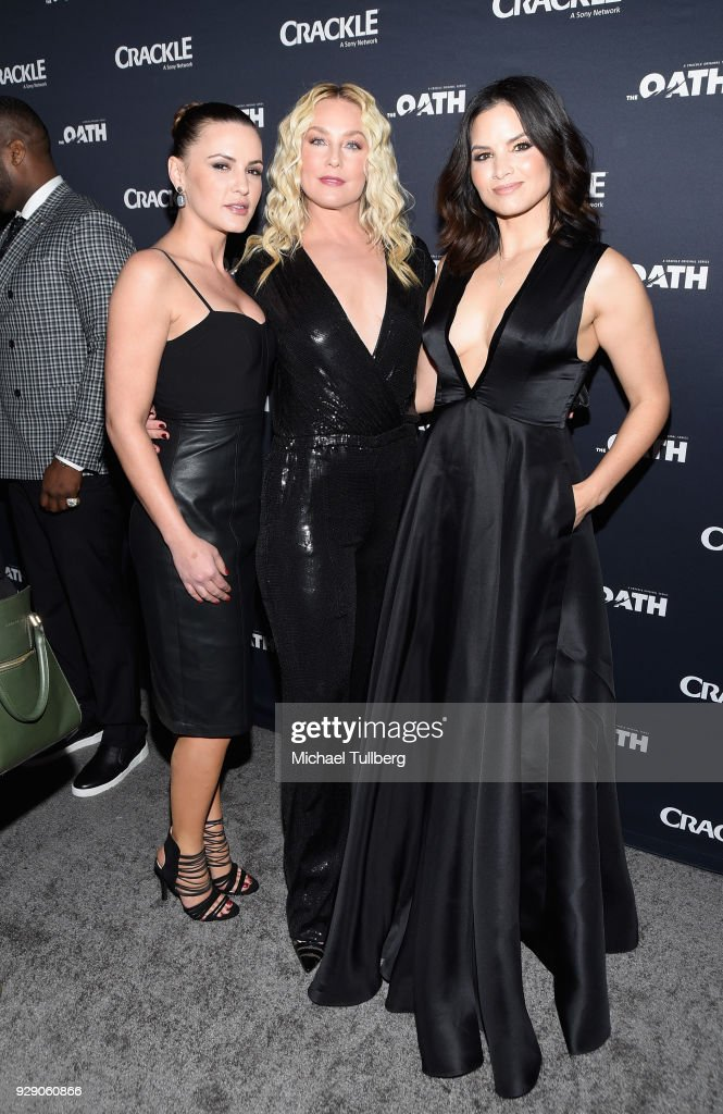 Actors Eve Mauro, Elisabeth Rohm and Katrina Law attend the premiere of Crackle's 'The Oath' at Sony Pictures Studios on March 7, 2018 in Culver City, California.