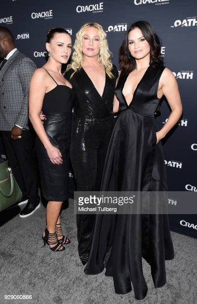 Actors Eve Mauro Elisabeth Rohm and Katrina Law attend the premiere of Crackle's 'The Oath' at Sony Pictures Studios on March 7 2018 in Culver City...