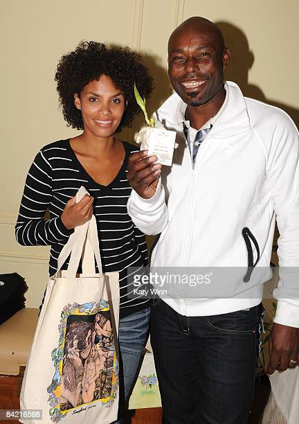 Actors Evelyn JeanLouis and husband Jimmy JeanLouis arrives at the PreGolden Globes DPA Gifting Lounge hosted by Nathalie Dubois held at the The...
