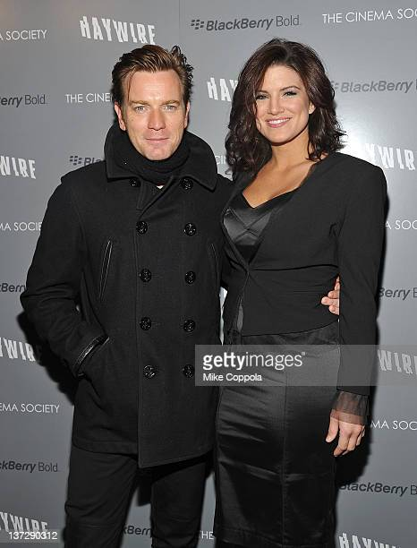 Actors Ewan McGregor and Gina Carano attend the Cinema Society Blackberry Bold screening of Haywire at Landmark Sunshine Cinema on January 18 2012 in...