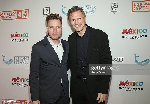 Actors Ewan McGregor and Liam Neeson attend The 4th Annual Los Cabos International Film Festival closing night gala on November 14 2015 in Cabo San...