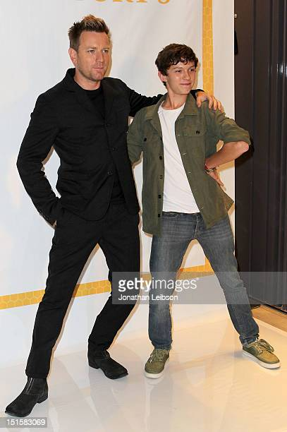 Actors Ewan McGregor and Tom Holland at Variety Studio presented by Moroccanoil on Day 1 at Holt Renfrew, Toronto during the 2012 Toronto...