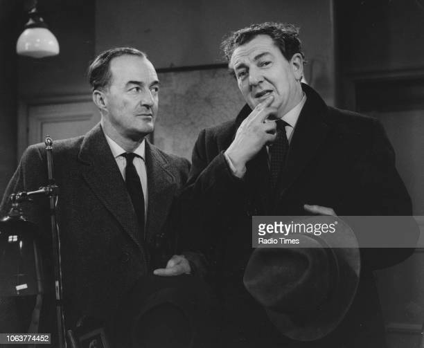 Actors Ewen Solon and Rupert Davies in a scene from the television show 'Maigret' February 14th 1963