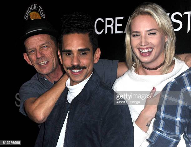 Actors Ezra Buzzington Ray Santiago and Molly McCook arrive for Screamfest 2016 Opening Night Screening Of 'Trash Fire' held at TCL Chinese Theatre...