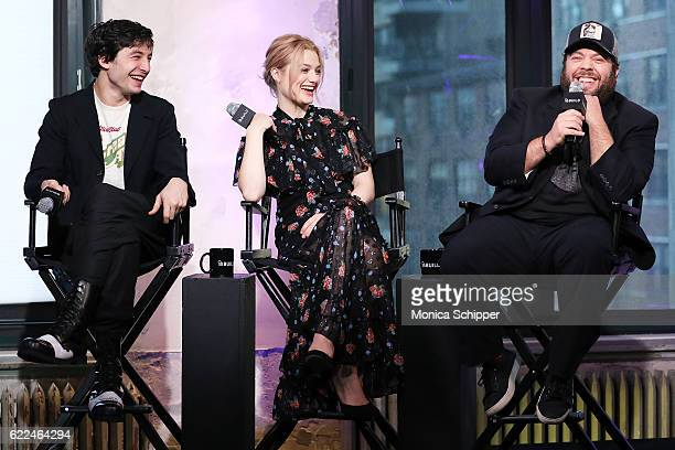 Actors Ezra Miller Alison Sudol and Dan Fogler speak at The Build Series Presents 'Fantastic Beasts And Where to Find Them' at AOL HQ on November 11...
