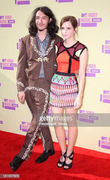 Actors Ezra Miller and Emma Watson arrive at the 2012 MTV Video Music Awards at Staples Center on September 6 2012 in Los Angeles California