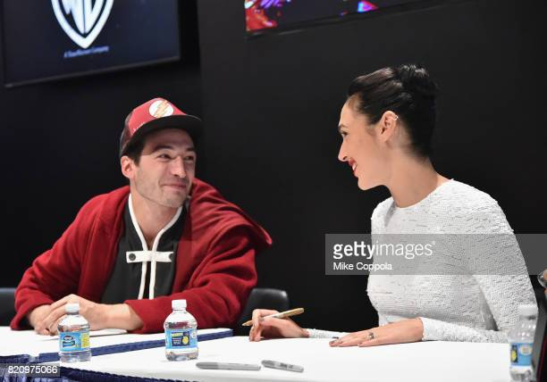 Actors Ezra Miller and Gal Gadot during the 'Justice League' autograph signing at ComicCon International 2017 at San Diego Convention Center on July...