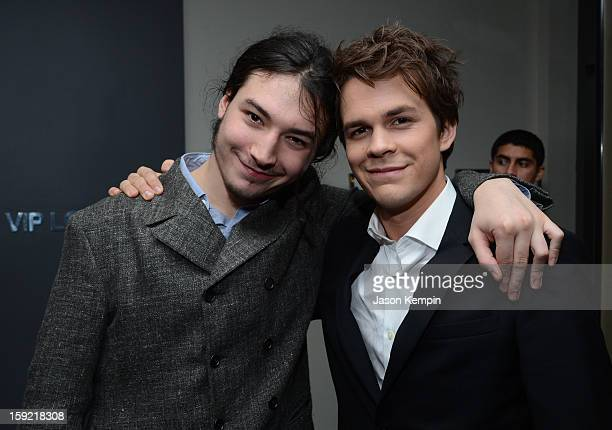 Actors Ezra Miller and Johnny Simmons attend the 39th Annual People's Choice Awards at Nokia Theatre LA Live on January 9 2013 in Los Angeles...