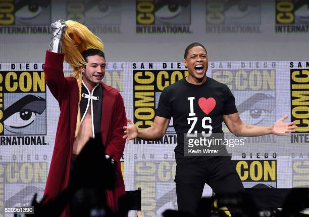 """Actors Ezra Miller and Ray Fisher attend the Warner Bros. Pictures """"Justice League"""" Presentation during Comic-Con International 2017 at San Diego..."""