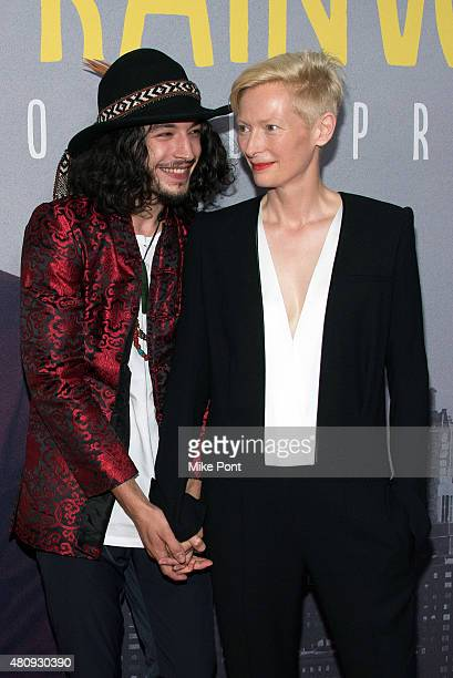 Actors Ezra Miller and Tilda Swinton attend the Trainwreck New York Premiere at Alice Tully Hall on July 14 2015 in New York City