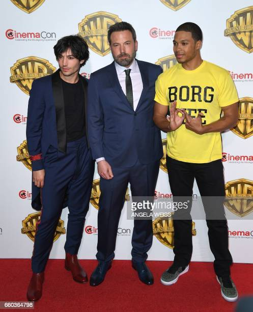 Actors Ezra Miller Ben Aflleck and Ray Fisher arrive at CinemaCon 2017 Warner Bros Pictures Invites You to The Big Picture at The Colosseum at...