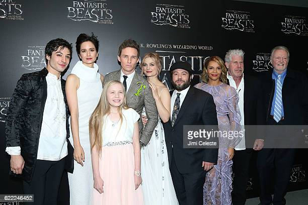 Actors Ezra Miller Katherine Waterson Faith WoodBlagrove Eddie Redmayne Alison Sudol Dan Fogler Carmen Ejogo Ron Perlman and Jon Voight attends...