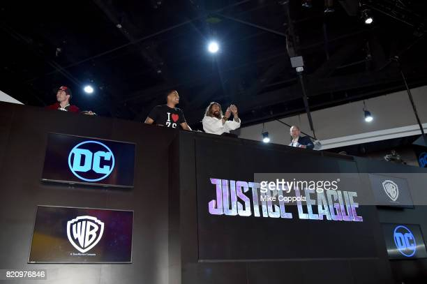 Actors Ezra Miller Ray Fisher and Jason Momoa during the Justice League autograph signing at ComicCon International 2017 at San Diego Convention...