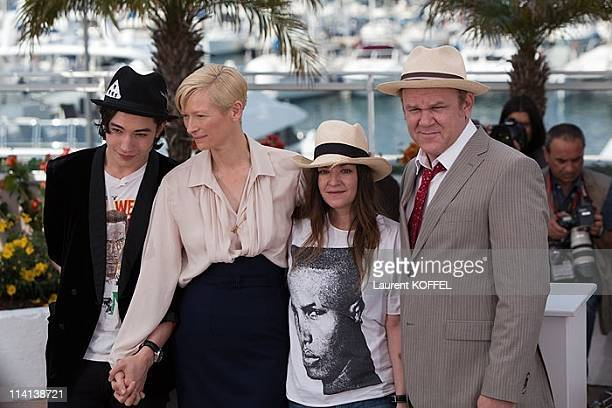 Actors Ezra Miller Tilda Swinton director Lynne Ramsay and John C Reilly attend the 'We Need To Talk About Kevin' photocall during the 64th Annual...