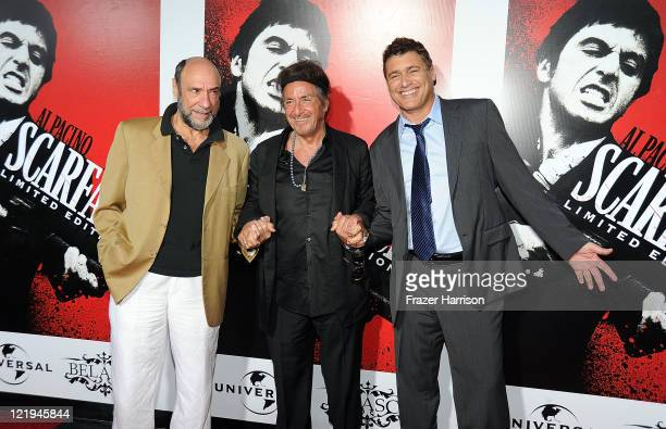 Actors F Murray Abraham Al Pacino and Steven Bauer arrive at the release of Scarface On Bluray at the Belasco Theatre on August 23 2011 in Los...