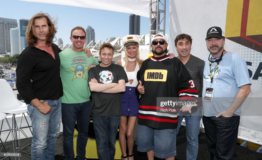 Actors Fabio Lanzoni, Ian Ziering, Chris Kattan, Tara Reid, host Kevin Smith, director Anthony C. Ferrante and producer David Michael Latt on the #IMDboat at San Diego Comic-Con 2017 at The IMDb Yacht on July 21, 2017 in San Diego, California.
