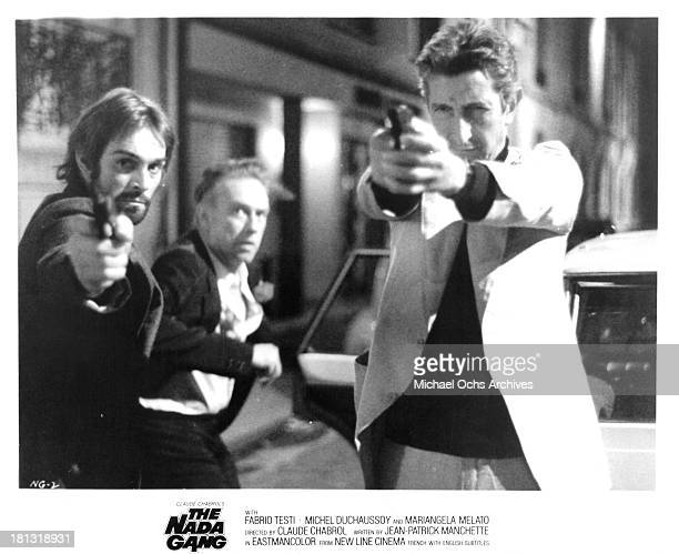 """Actors Fabio Testi and Maurice Garrel on the set of the New Line Cinema movie """"The Nada Gang"""" in 1974."""