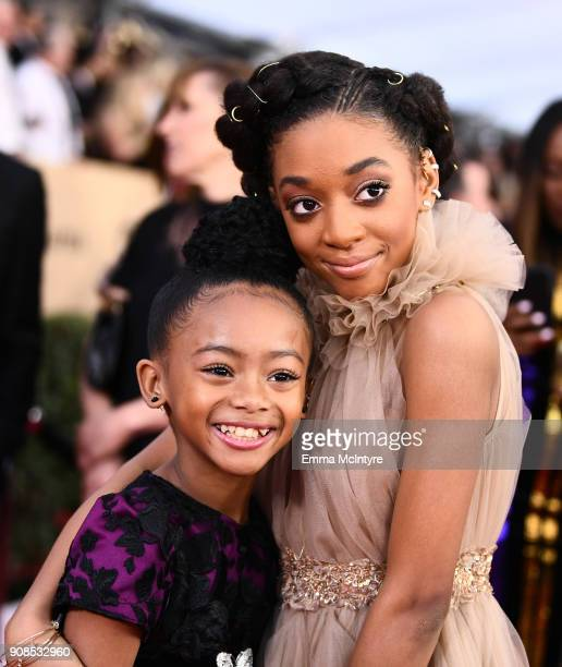 Actors Faithe Herman and Eris Baker attend the 24th Annual Screen Actors Guild Awards at The Shrine Auditorium on January 21 2018 in Los Angeles...