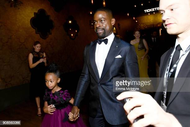 Actors Faithe Herman and Sterling K Brown backstage at the 24th Annual Screen Actors Guild Awards at The Shrine Auditorium on January 21 2018 in Los...