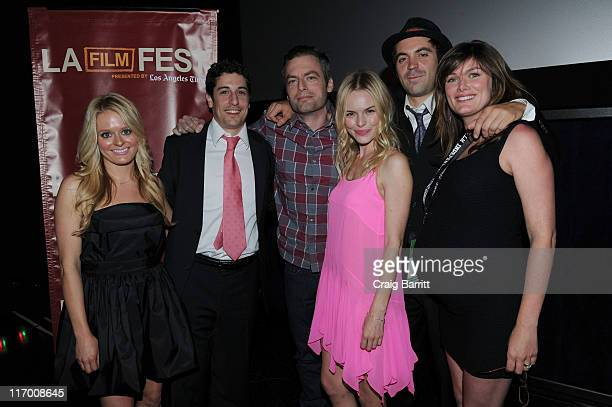 Actors Fallon Goodson Jason Biggs Justin Kirk Kate Bosworth Rhys Coiro and director Kat Coiro arrive at the 'Lfe Happens' World Premiere during the...