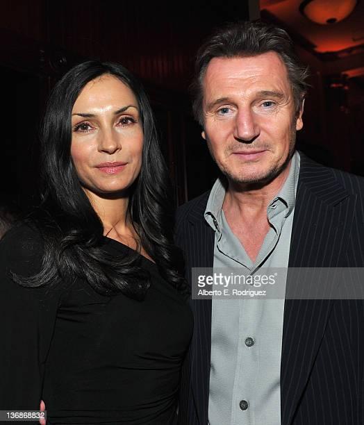 Actors Famke Janssen and Liam Neeson attends the after party for the premiere of Open Road Films' The Grey on January 11 2012 in Los Angeles...