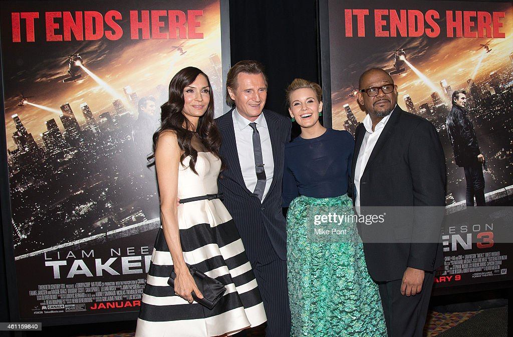 Actors Famke Janssen, Liam Neeson, Maggie Grace, and Forest Whitaker attend the 'Taken 3' Fan Event Screening at the AMC Empire 25 theater on January 7, 2015 in New York City.