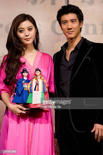 Actors Fan Bingbing and Wang Leehom attend a press conference for 'Yang Gui Fei' during the 16th Busan International Film Festival at Grand Hotel on...