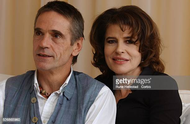 Actors Fanny Ardant and Jeremy Irons attend a photocall for the film 'Maria Callas' at Sandersons Hotel London