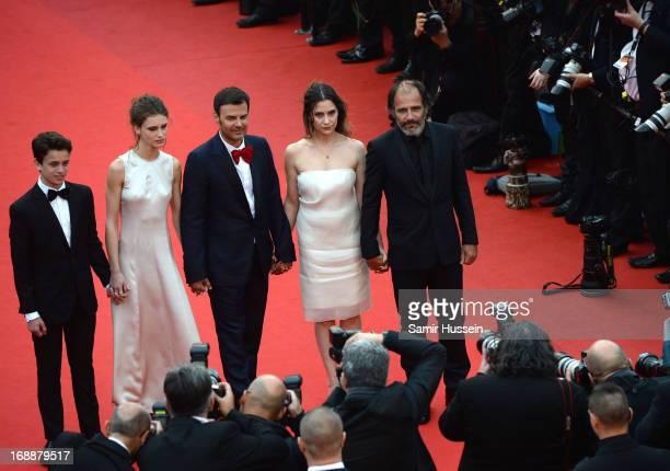 Actors Fantin Ravat Marine Vacth director Francois Ozon actors Geraldine Pailhas and Frederic Pierrot attend the 'Jeune Jolie' premiere during The...