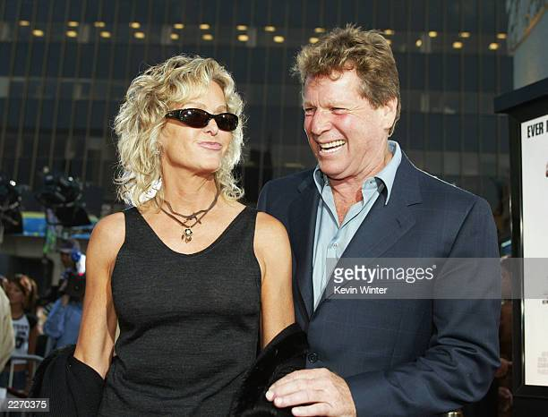 Actors Farrah Fawcett and Ryan O'Neal arrive at the premiere of 'Malibu's Most Wanted' at the Chinese Theater on April 10 2003 in Los Angeles...