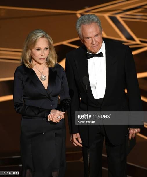 Actors Faye Dunaway and Warren Beatty speak onstage during the 90th Annual Academy Awards at the Dolby Theatre at Hollywood Highland Center on March...