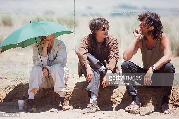 Actors Faye Dunaway Johnny Depp and Jerry Lewis on the set of Arizona Dream directed by Serbian director Emir Kusturica